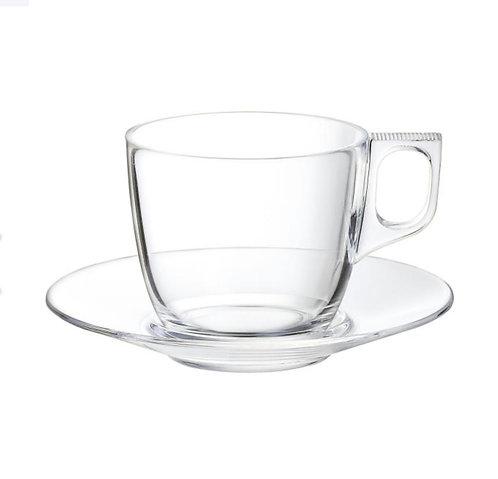 Tasse à café transparent verre trempé + soucoupe