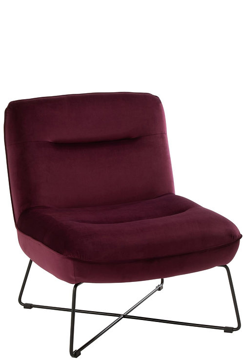 Chaise Loune Support Textile/Metal Burgundy