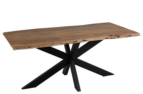 Table De Salon Plateau Irregulier Metal/Bois Noir/Naturel