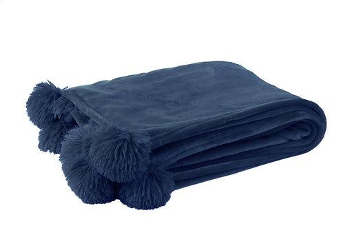 Plaid Pompon Polyester Bleu