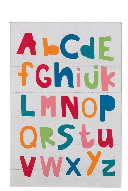 Cadre Abc Alphabet Bois Blanc/Mix