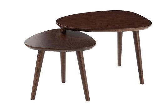 Set De 2 Table Gigogne Vintage Bois Marron