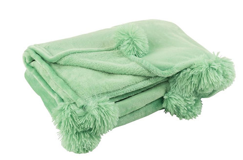 Plaid Pompon Polyester Vert Vif