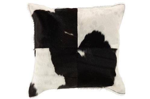 Coussin Vache Carre Cuir Noir/Blanc