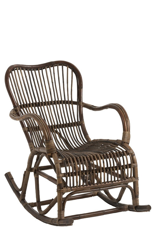 Rocking Chair Rotin Marron