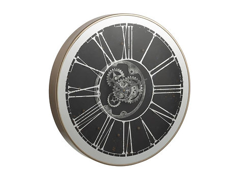 Horloge Ronde + Led Mecanisme Miroir Argent/Champagne