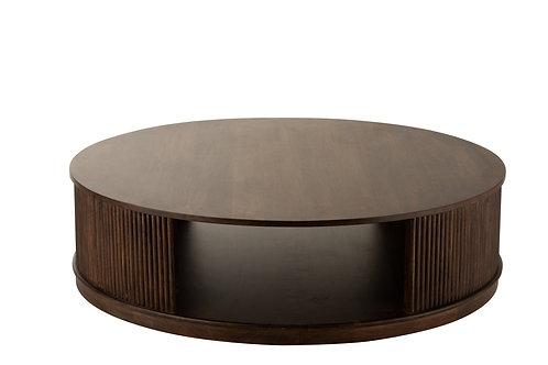 Table De Salon Reyi Sur Roues Bois De Manguier Brun Fonce