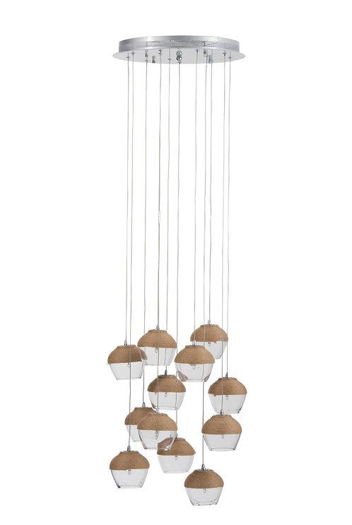 Lampe Suspendue Verre/Corde Transparent/Naturel