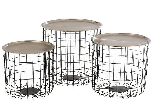 Set De 3 Table Gigogne Panier Metal Noir/Argent