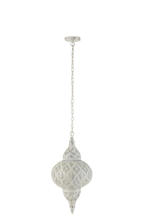 Lampe Suspendue Orientale Trous Metal Blanc