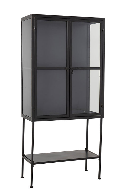 Armoire Ovale Metal/Verre Noir