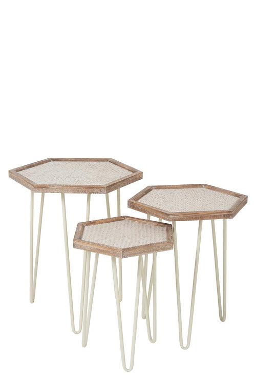 Set De 3 Table Gigogne Hexagonale Metal/Sapin Creme/Naturel