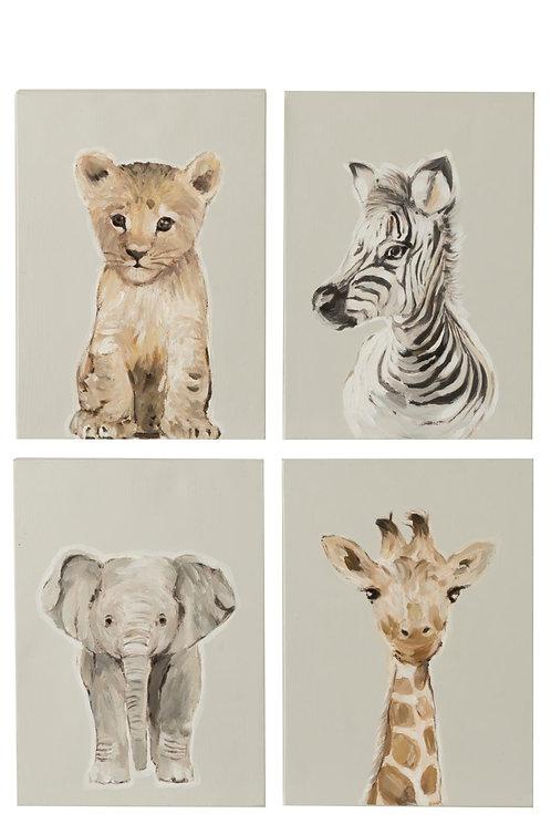 Lot de 4 Peintures Animaux Safari Toile/Bois Marron/Gris