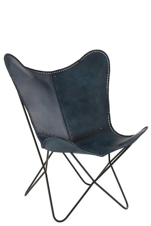 Chaise Lounge Cuir/Fer Bleu