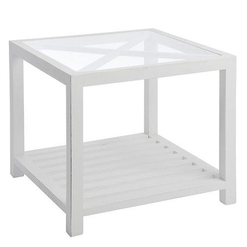 Table Gigogne Carrée Croix Bois/Verre Blanc