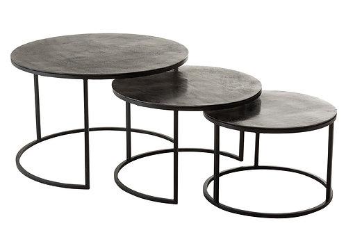 Set De 3 Table Gigogne Ronde Oxidize Aluminium/Metal Antique Noir/Vert
