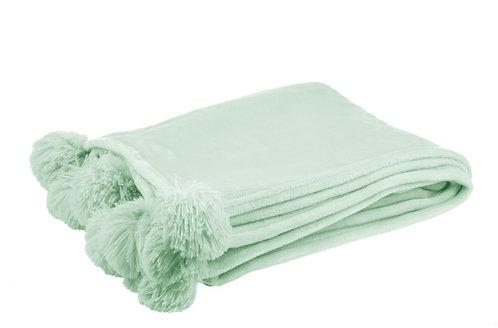 Plaid Pompon Polyester Vert Clair