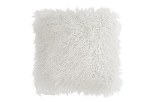 Coussin Poils Longs Fourrure Artificielle Blanc