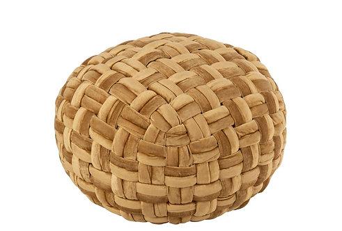 Pouf Crochete Viscose Rond Or