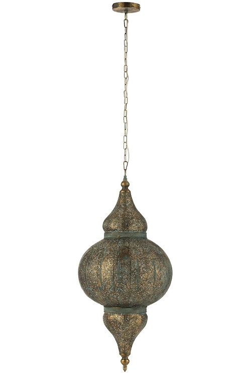 Lampe Suspendue Orientale Metal Or Vieilli Large