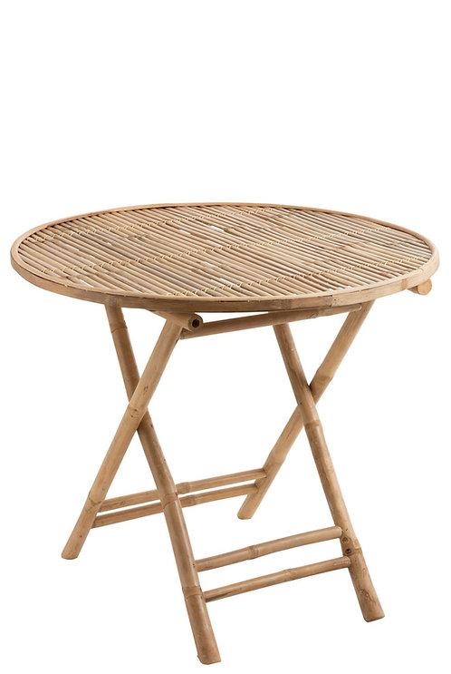 Table Ronde Pliable Bambou Naturel