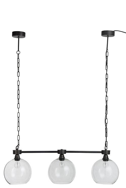 Lampe Suspendue 3 Boules Metal/Verre Noir