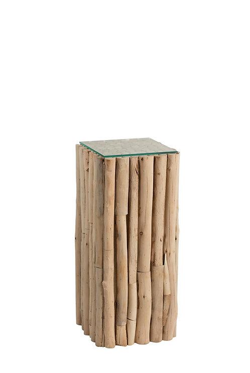 Socle Carre Morceaux Bois/Verre Naturel