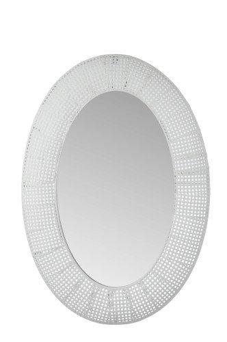 Miroir oval blanc antique