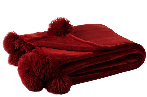 Plaid Pompon Polyester Rouge
