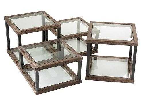 Set De 4 Table De Salon Bois/Verre Marron