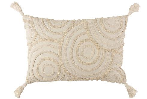 Coussin Cercles Coton Rectangulaire Blanc