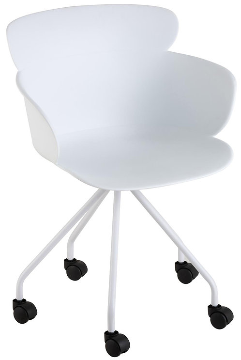 Chaise Eva à Roulettes Blanc