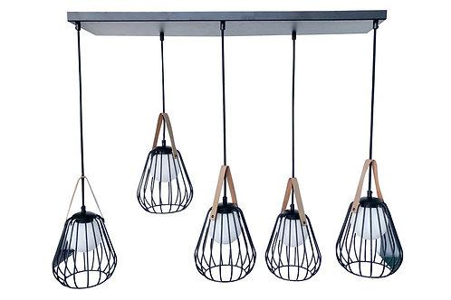 Lampe Suspendu Ignes 5lampes Acier/Verre Noir