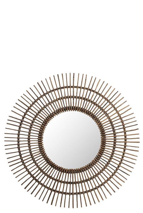 Miroir Rond Ethnique Rotin Marron Large