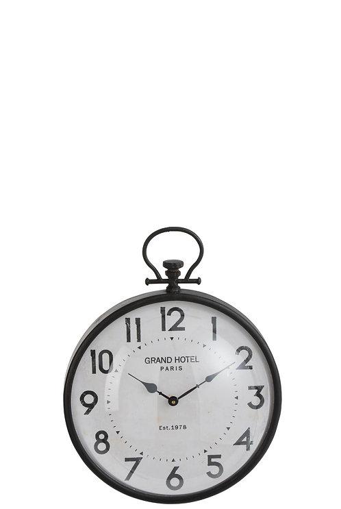 Horloge Boule Ronde Metal Noir Verre