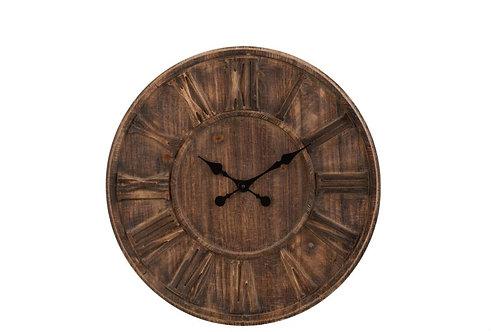 Horloge Rondin De Bois Chiffres Romains Marron Large