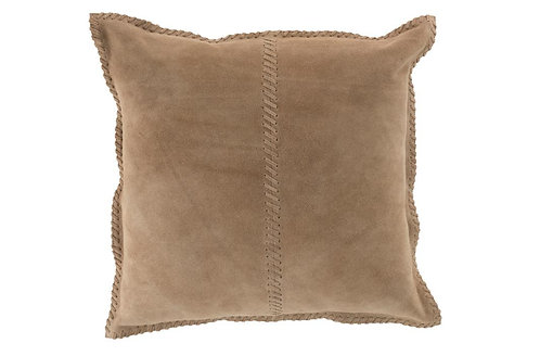 Coussin Point Carre Cuir Beige