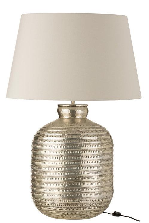 Lampe + Abat-Jour Rond Aluminium Gris