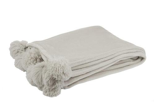 Plaid Pompon Polyester Gris Clair