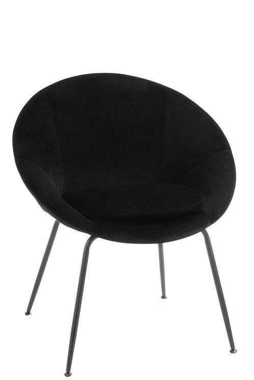 Chaise Ronde Metal/Textile Noir
