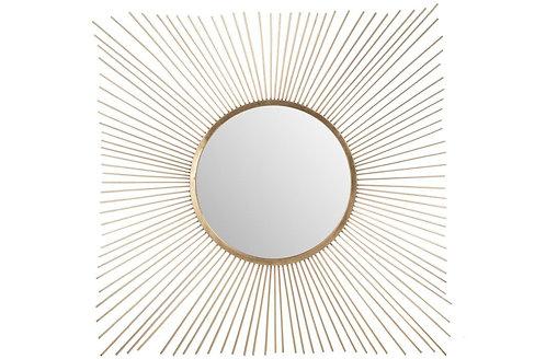 Miroir Rayon Soleil Metal/Verre Or