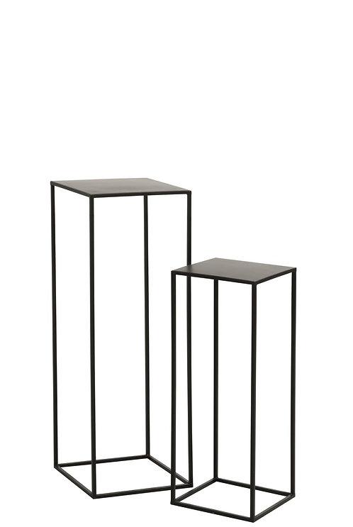 Set De 2 Table Gigogne Carree Metal Noir
