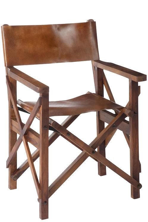 Chaise De Regisseur Pliable Bois/Cuir Cognac