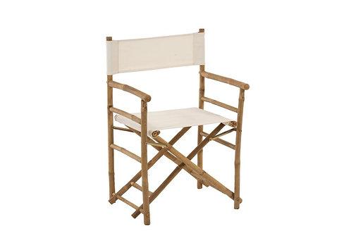 Chaise De Regisseur Pliable Bambou+Textile Naturel/Blanc