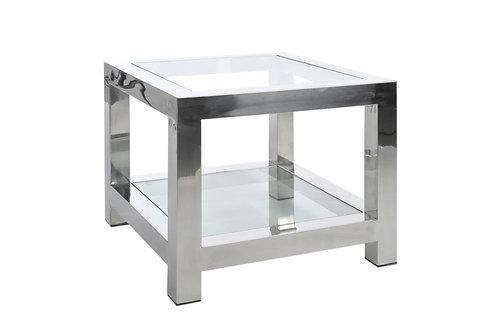 Table Gigogne Acier Inoxydable/Verre Argent