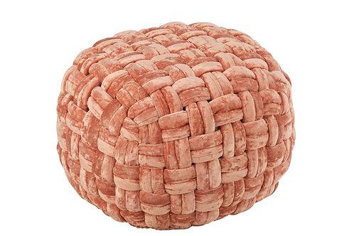 Pouf Crochete Viscose Rond Rose/Orange