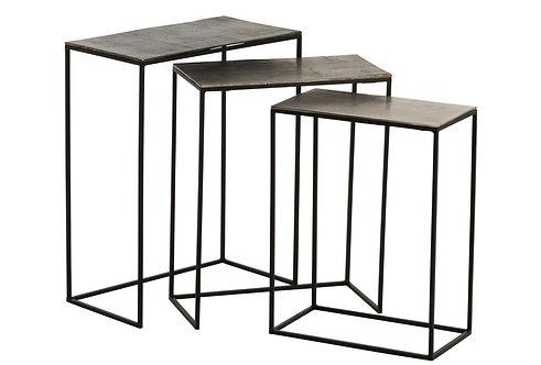 Set De 3 Table Gigogne Rectangulaire Aluminium Noir/Mix