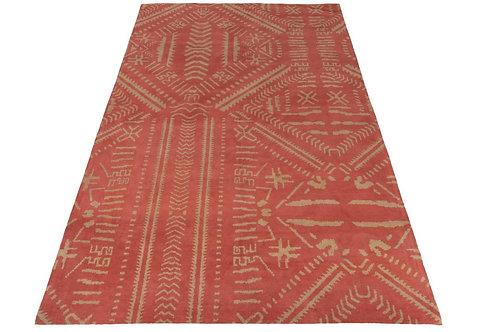 Tapis Ethnique Imprimes Coton Orange/Beige