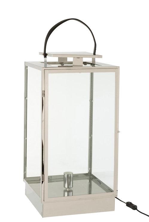 Lanterne Lampe Metal/Verre Argent