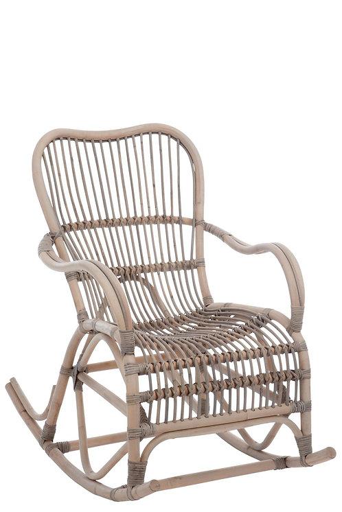 Chaise A Bascule Rotin Gris